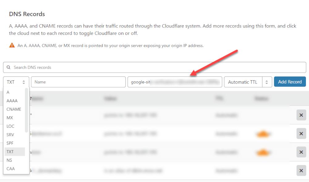 הוספת רשומת TXT בcloudflare