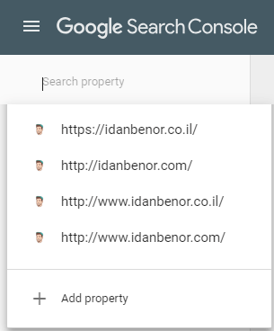 נכסים בsearch console של idanbenor.co.il